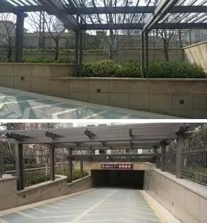 钱江地下车库出入口至车库内墙面,循序产生三种饰面过渡变化,即石材图片